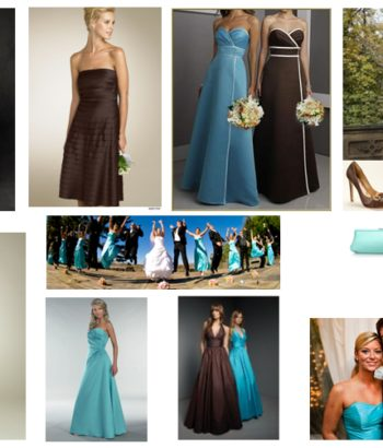chocolate brown and tiffany blue bridesmaid dresses