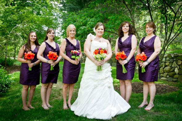 2bbbf6973d8 dark purple bridesmaid dresses with orange bouquets – Budget ...