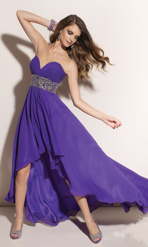 deep purple asymmetrical bridesmaid dresses