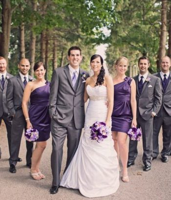 deep purple bridesmaid dresses with dk gray tuxedos