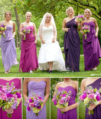 different shades of purple bridesmaid dresses