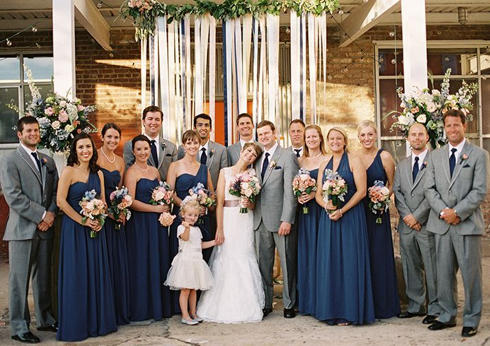 dusty blue bridesmaid dresses and gray men suits