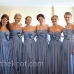 dusty blue bridesmaid dresses with bows