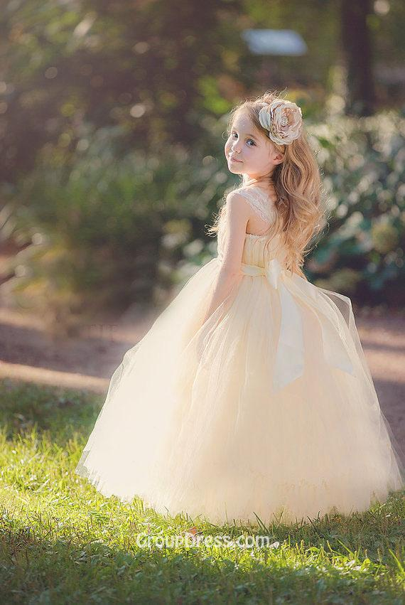 flower girl tulle dresses floor length blush dress