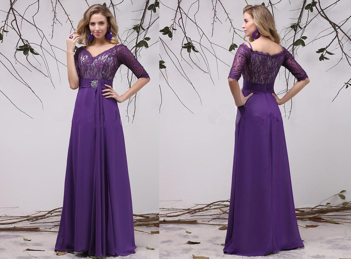 half sleeve purple bridesmaid dresses