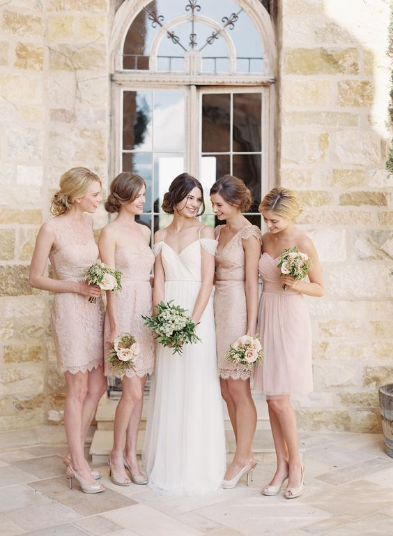 light pink beige bridesmaid dresses mismatched