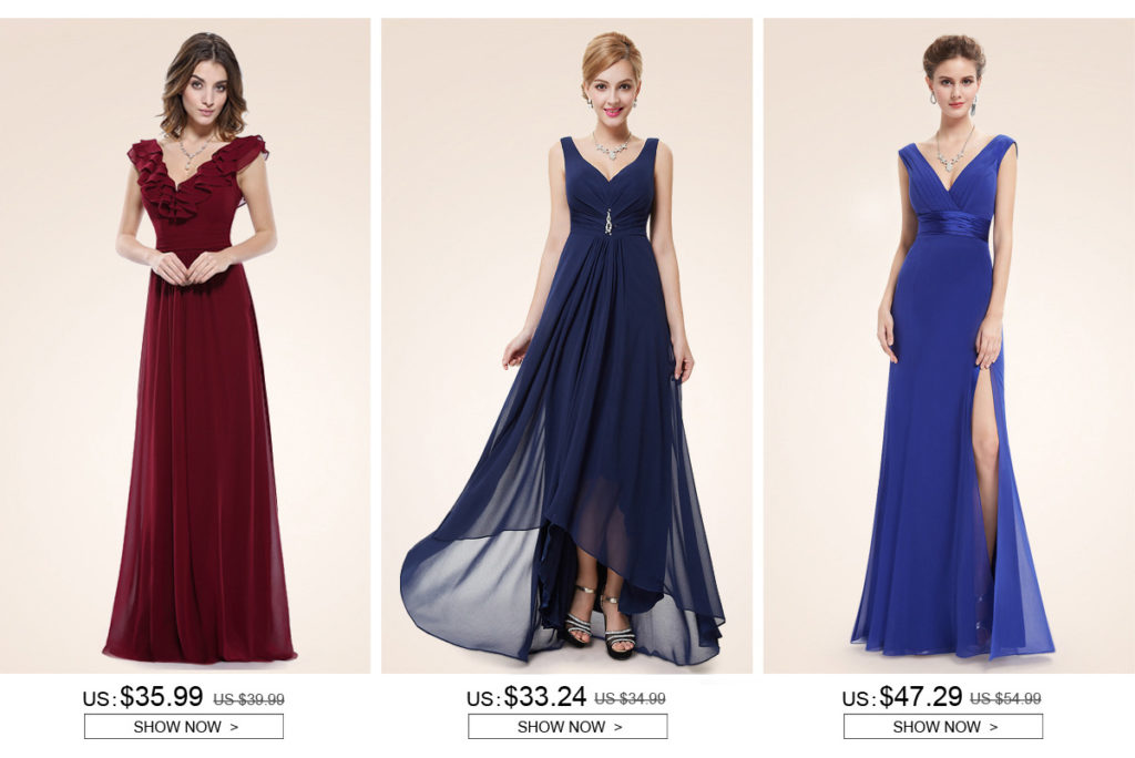 long v neck chiffon bridesmaid dresses