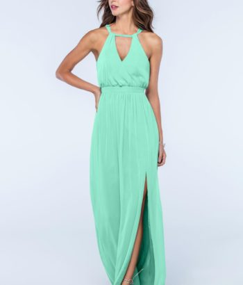 mint Geen Long V neck chiffon bridesmaid dress
