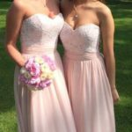 ong pearl pink bridesmaid dresses with lace