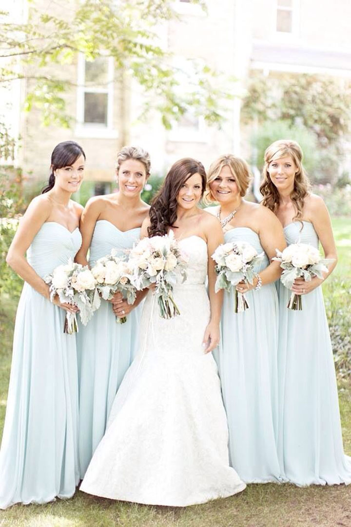 pale blue bridesmaid dresses bright flowers