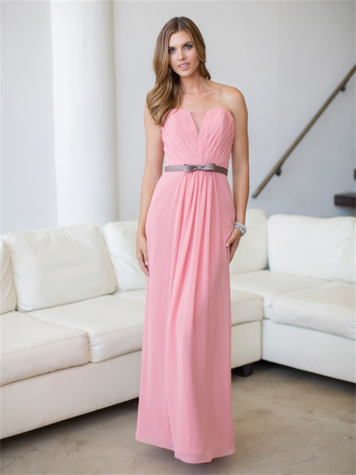 pale pink bridesmaid dresses long