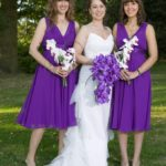 Wedding purple bridesmaid dress with flowers uk