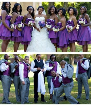 purple bridesmaid dresses with gray suits
