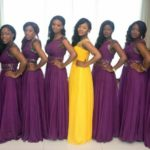 royal purple and gold bridesmaid dresses