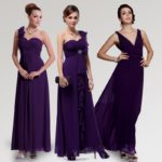 shiny royal purple bridesmaid dresses