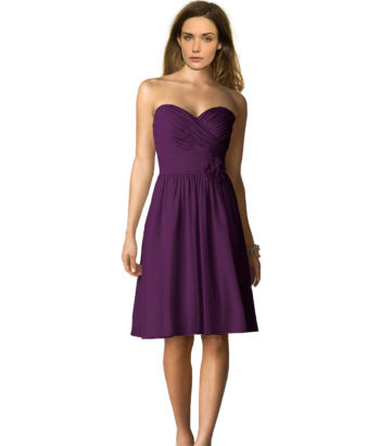 short deep purple bridesmaid dresses
