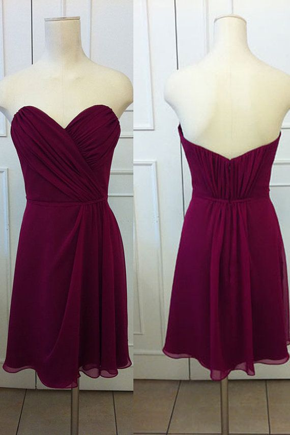 short purple bridesmaid dresses sweetheart neckline 2017