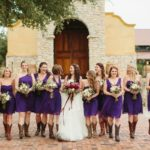 short purple bridesmaid dresses with cowboy boots