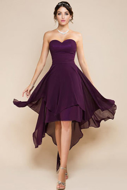 short purple bridesmaid dresses
