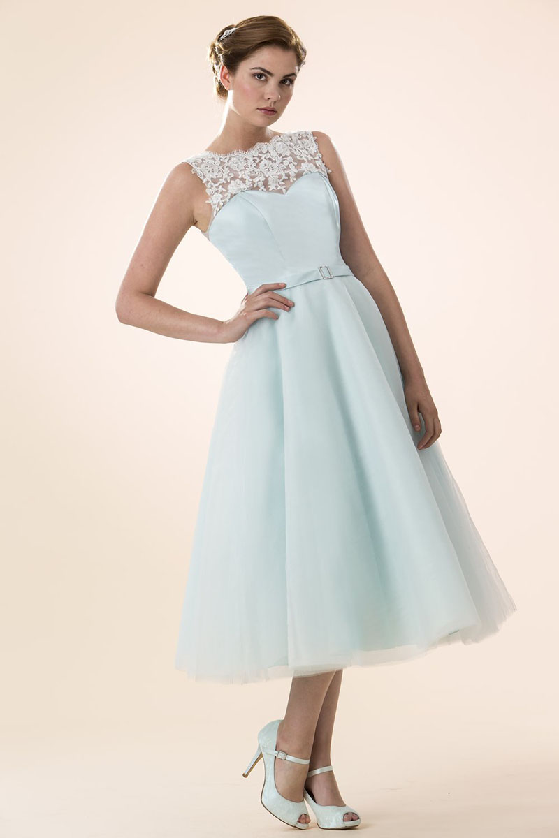 tea length pale blue bridesmaid dresses