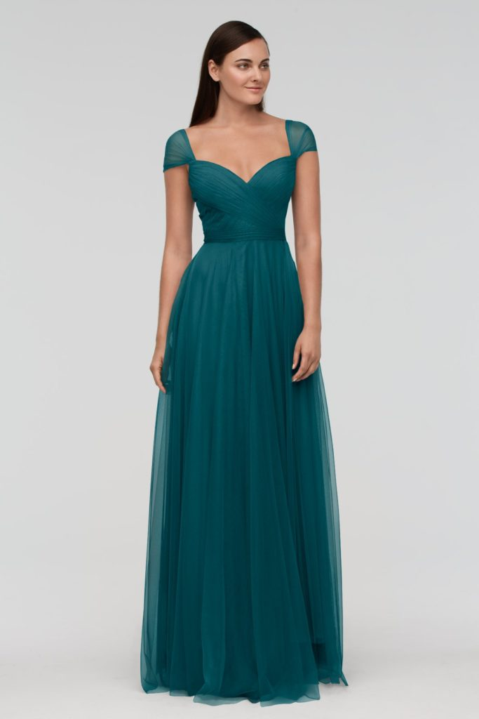 viridian Green Cap Sleeve Bridesmaid Dress UK