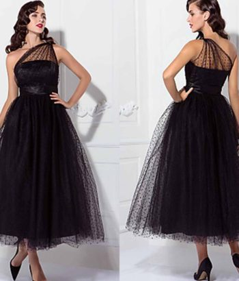 1950S Celebrity Tea Length Black Prom Dresses