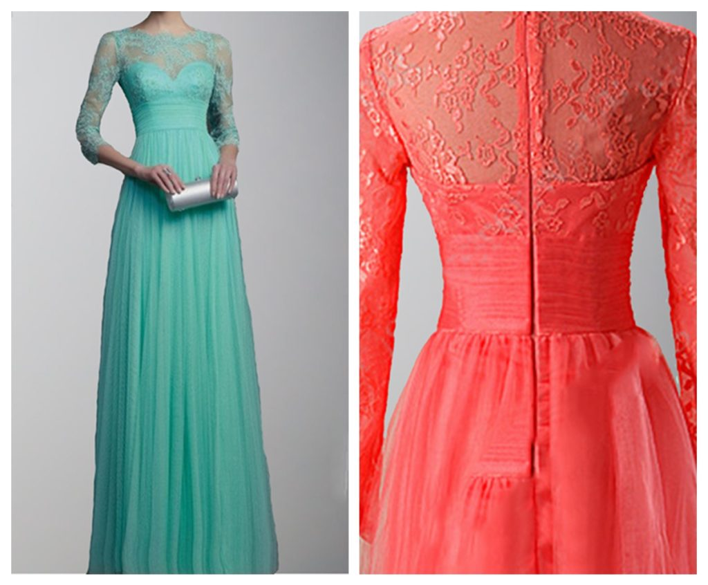 3-4 sleeves Lace Applique 2017 Long Bridesmaid Dresses