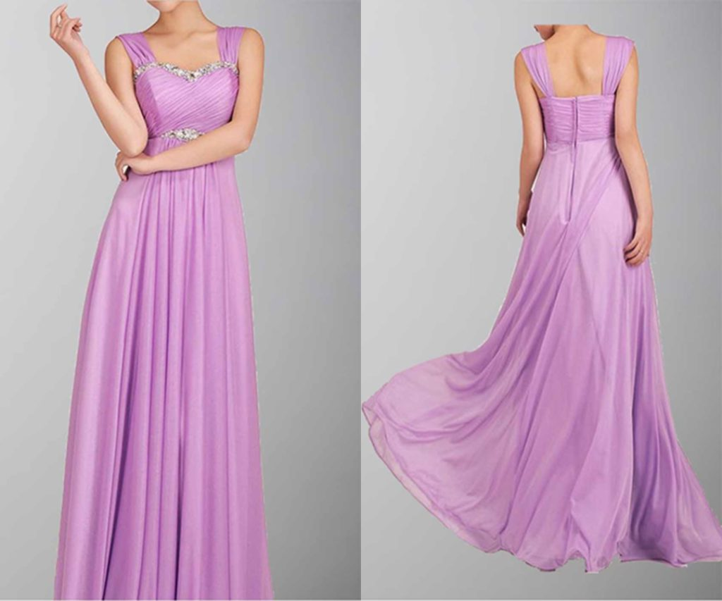 A-line Beaded Empire Waist Shoulder-straps Long Prom Dress