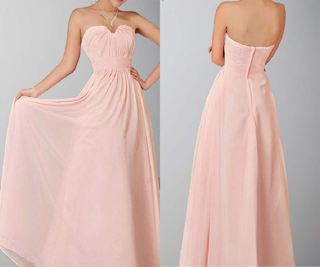 A-line Sweetheart Neck Chiffon Long Prom Gown