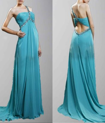 Amazing Blue Beaded One Shoulder Prom Dress