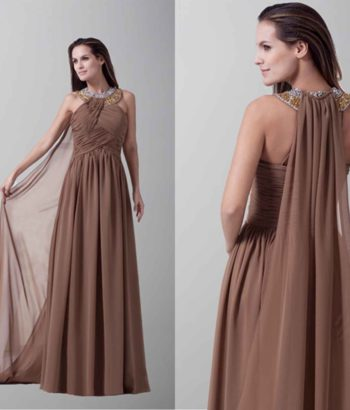 Amazing Halter Sideling Drape Long Evening Dresses