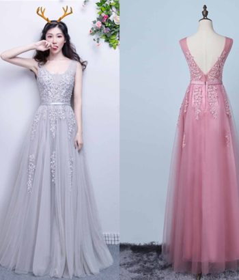 Applique Lace V-neck Long Grey Prom Gowns with Straps