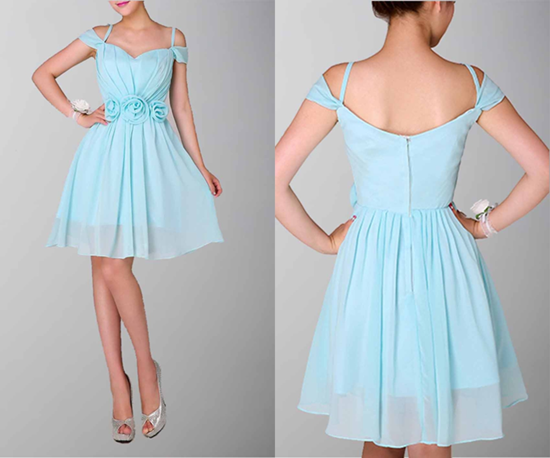 Baby Blue Goddess Off The Shoulder Sleeves Prom Dress