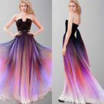 Beautiful Sunset Long Ombre Cape Prom Dresses