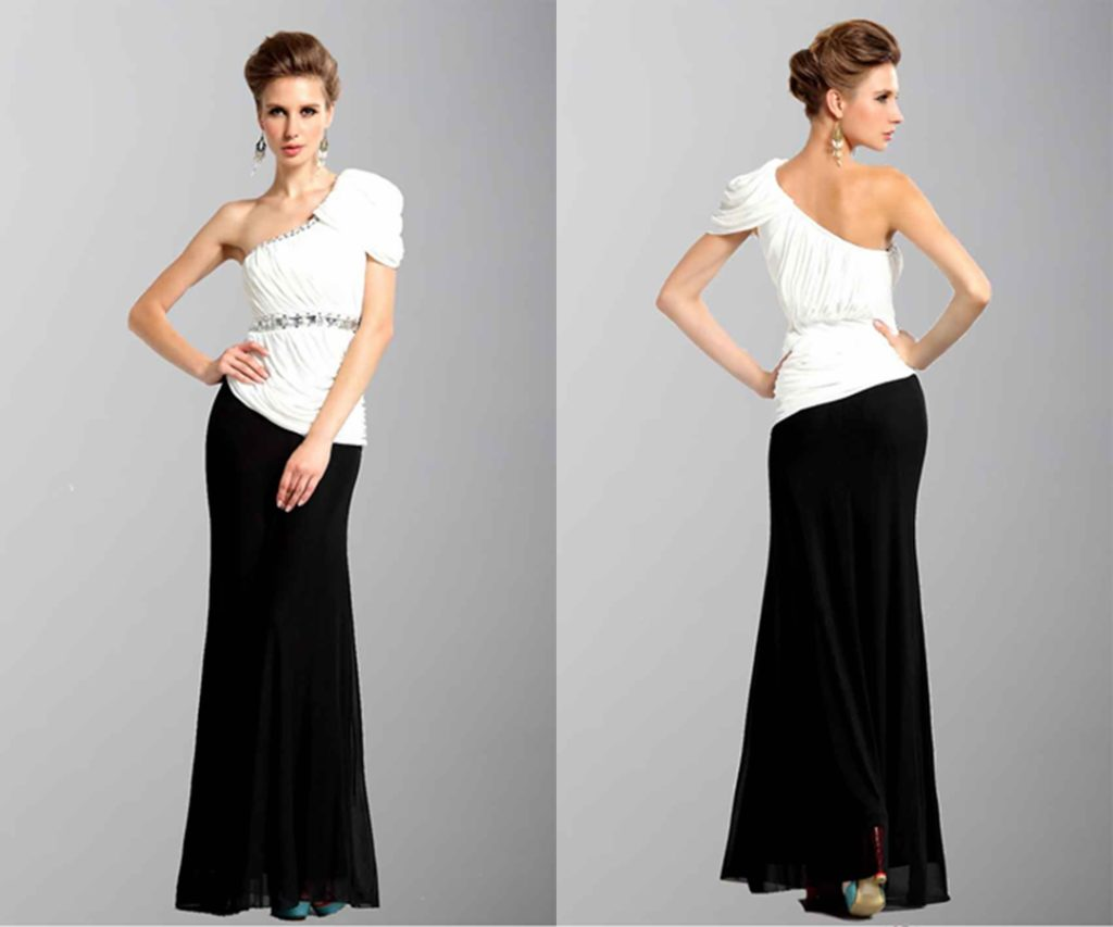 Black And White One Shoulder Straight leg Evening Gowns