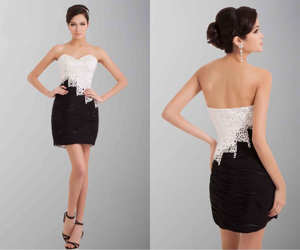 Black And White Short Sequin Party Dresses