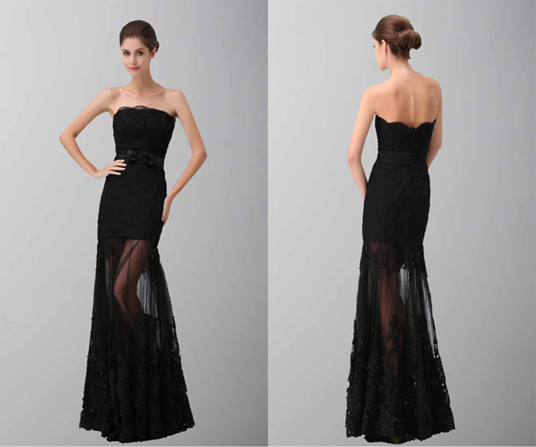 Black Elegance Strapless Lace Formal Dresses