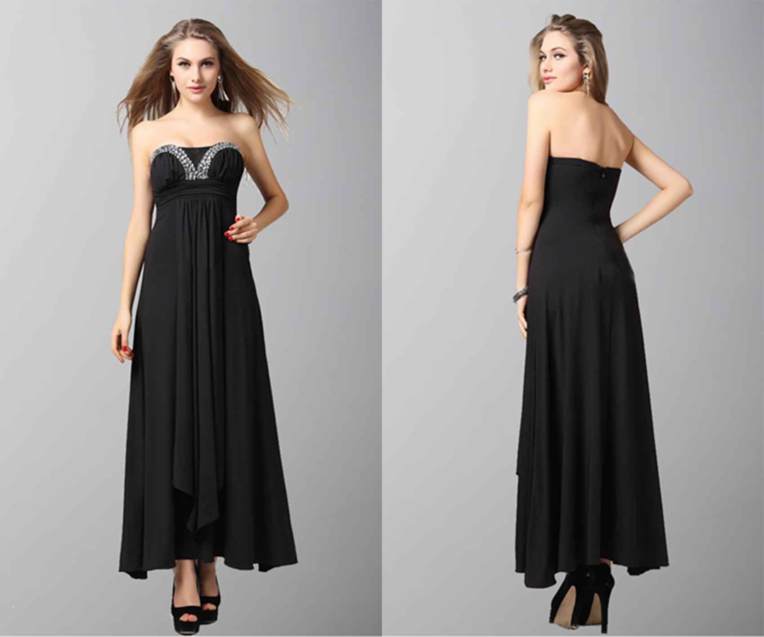 Black Sexy Dimensional Level Folds Evening Dress