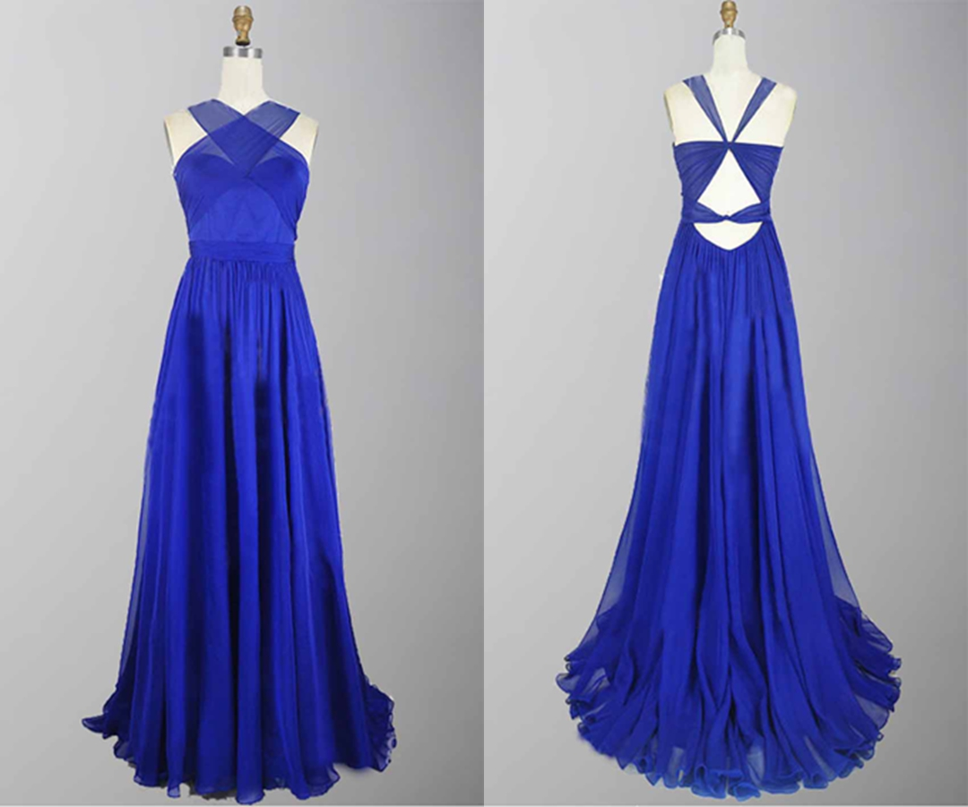 Blue Cross Strap Cut Out Back Long Prom Party Dress