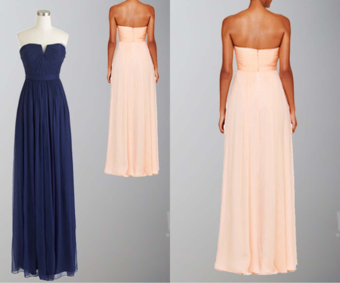 Blue V-neck Pleated Long Bridesmaid Dress