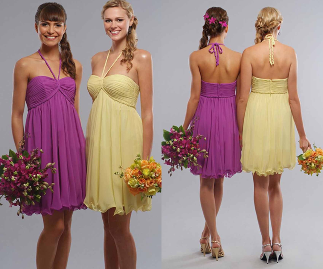 Braid Halter Empire Short Bridesmaid Dresses