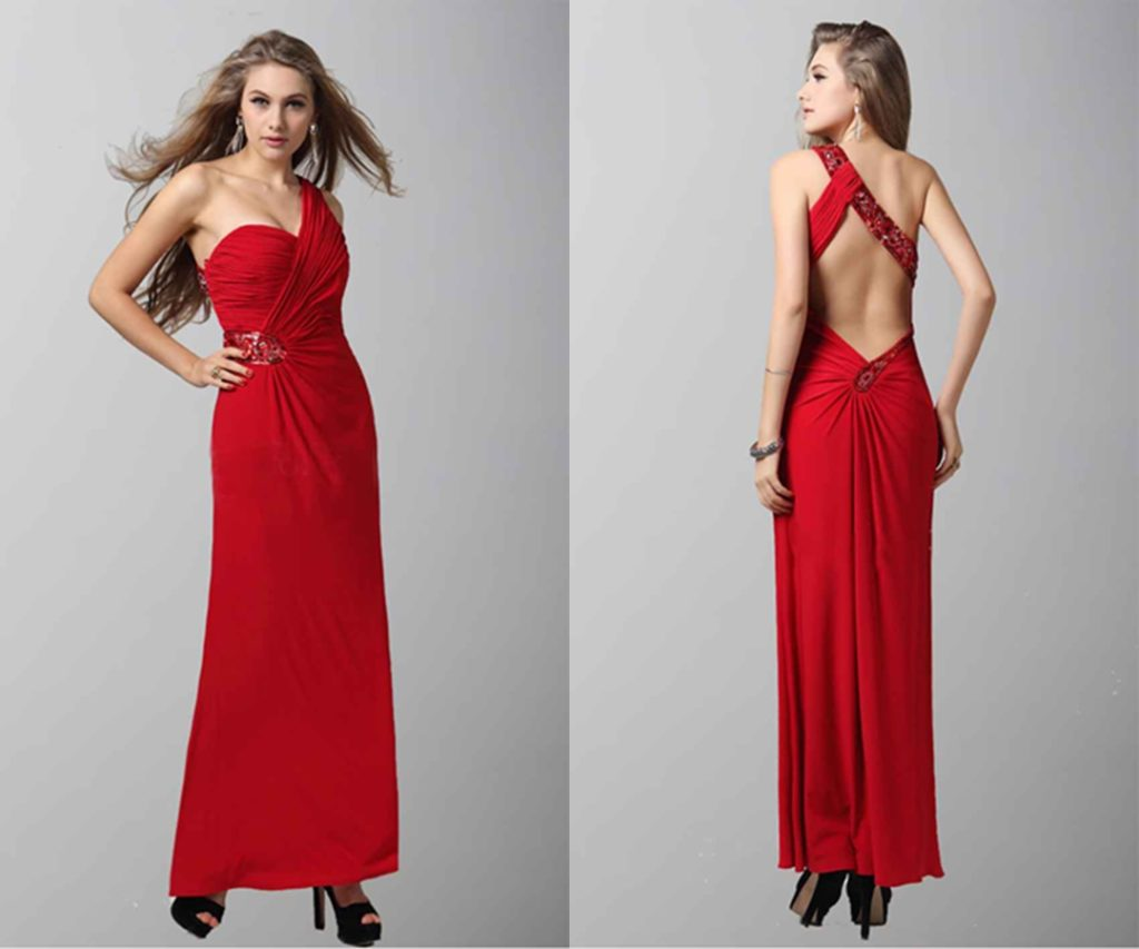Brilliant Red One Shoulder Plicated Sequined Prom Dress