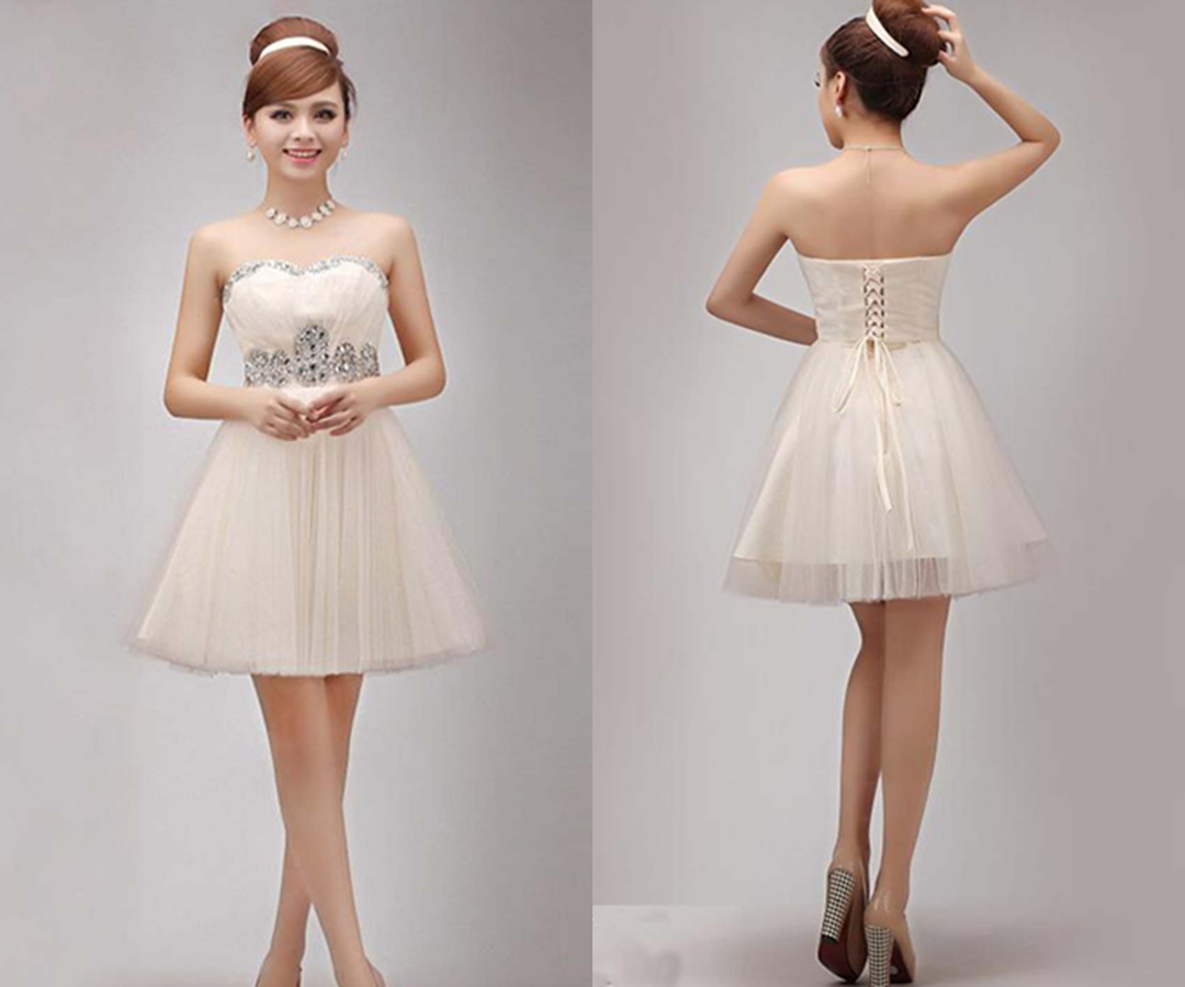 Charming Rhinestone Strapless Short Beige Party Dress