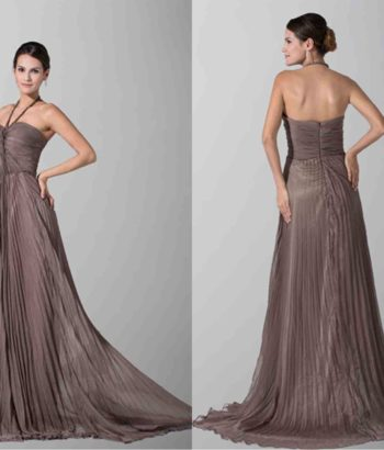 Chocolate Halter Twist Bust Long Bridesmaid Dresses