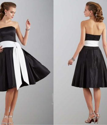 Classic Black Strapless Short Bridesmaid Dresses