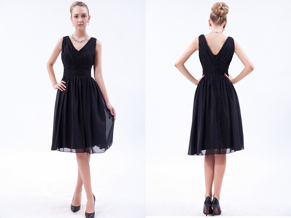 Classic V-neck Little Black Dresses with Pleated