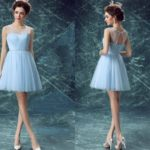 Cute Blue Illusion Prom Dress Short Keyhole Back
