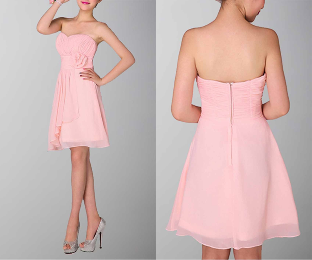 Cute Strapless Party Dress With Irregular Hemline