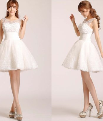Cute White Short Lace Prom Dress with Pearl Mesh Top