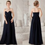 Dark Blue Sweetheart Empire Long Bridesmaid Dresses